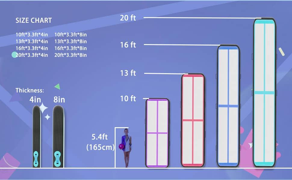 sizw chart air track mat
